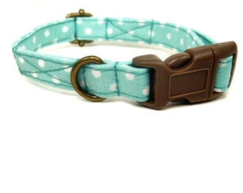 Mint n' Chip - Organic Cotton CAT Collar Mint White Polka Dot Breakaway Safety - All Antique Brass Hardware