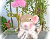 Felted Mouse Doll and Flower; Needle Felted Animal, Collectible Decor