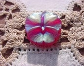 Gilded Ruby Red Pansy Czech Glass Button