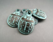 NEW ITEM Naos Mykonos Beads Greek Beads Egyptian Scarab Beetle Charm Antiqued Green Patina (4 charms)