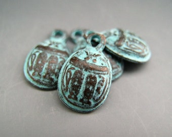 Naos Mykonos Beads Greek Beads Egyptian Scarab Beetle Charm Antiqued Green Patina (4 charms)