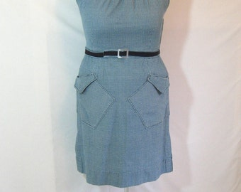 SALE - teal houndstooth sheath dress, plus size 18, size 20, XXL, matching belt, handmade in vintage stretch cotton fabric -- 48B-41W-51H