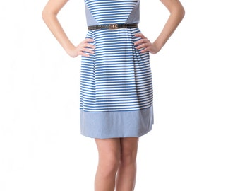 Cascais summer dress - woman's nautical inspired striped dress in bamboo jersey