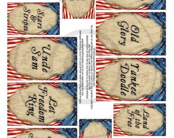 Instant Download - Printable Collage Sheet - Patriotic Flags - U-Print - PDF or JPG file