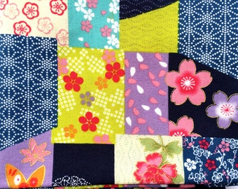 Japanese Fabric  - Cherry Blossoms -Flowers -  FAT QUARTER - Floral Fabric  (F121) Multi Colored Fabric