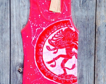 Goddess Shiva festival top batik yoga top women tank tops and tees yoga gifts white splatter hand drawn hand painted & hand dyed red ribbed