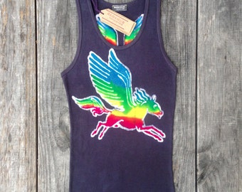 Rainbow clothing, Pegasus festival top, fairy clothing, pixie clothing, hand dyed batik black top, gift for her, tops & tees, summer top,