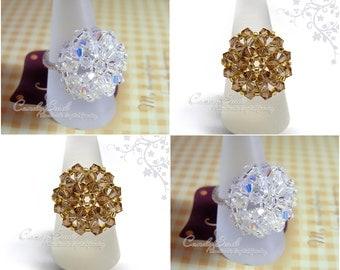 Swarovski Ring;crystal ring;Flower Button Ring, Daisy Swarovski Crystal Ring by CandyBead R015-02