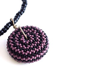 Beaded Bead Necklace // Purple and Black // Seed Bead Pendent // Beadwork // Clearance