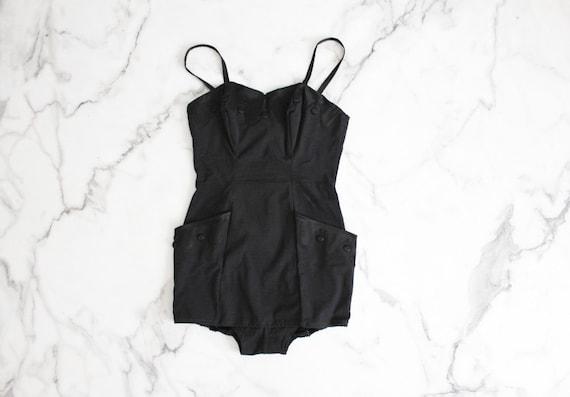 1950s swimsuit / one piece black swimsuit / pocket bathing suit