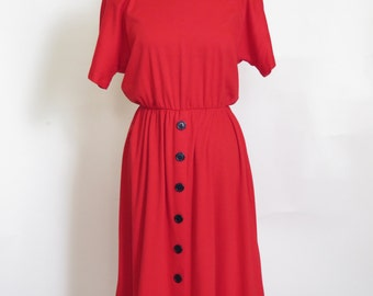 Vintage 1990s Avon Fashions 4th of July Button Fire Engine Red Dress size 9