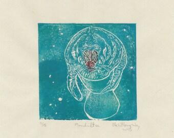 The Mandriltee Mini Print, a linocut imaginary marine mammal - Imaginary Hybrid Zoology Linocut Collection Mandrill Manatee