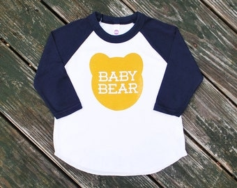 Baby Bear Kids Toddlers Navy Blue Raglan Sleeve Baseball TShirt with Mustard Yellow Ochre Print