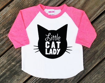 Little Cat Lady Neon Heather Pink Raglan Sleeve Baseball TShirt with Black Print - Infant Baby / Toddler Kids Sizes - Cat Lover, Cat People