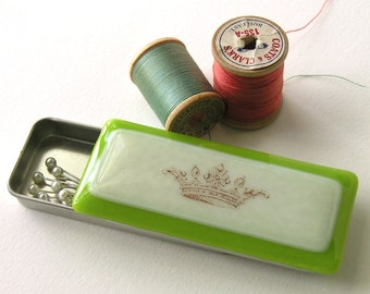Sewing Box for The Queen - She Who Must be Obeyed - Tiny Treasure Box -  Fused glass Box - Vintage Crown