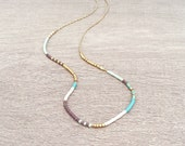 Extra Thin Beaded Multicolor Necklace // Minimalist Layering Necklace // Colorful Short Boho Necklace
