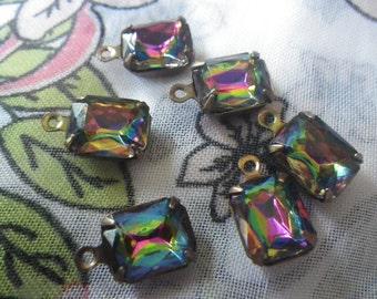 Vitrail 10x8mm Glass Octagon Brass Ox Earring Drops 6 Pcs