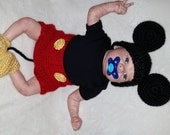 Mickey Mouse crocheted baby boy  3 piece outfit perfect for photo prop
