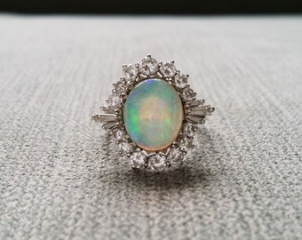 Opal and Diamond Ballerina Antique Engagement Ring Baguette Cocktail Vintage Flower Mid Century Old Hollywood White 14k Gold Size 5.5