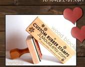 2.5x6 or 6x2.5 Custom Personalized Modern Red Rubber Stamp mounted WoodBlock or Handle JLMould Art Logo Image Wedding Invitations