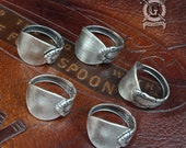 Demitasse Spoon Rings - 5 Piece Set - Adjustable - Stackable - Midi rings - Sterling Silver Plated - Antique Victorian Inspired Design