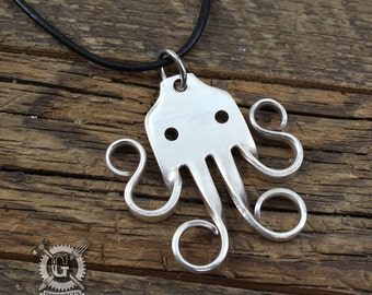 Cthulhu Fork Pendant - Handcrafted from an Antique Sterling Silver Plated Fork - Unique Silverware Jewelry Design by Doctor Gus - Boho Style