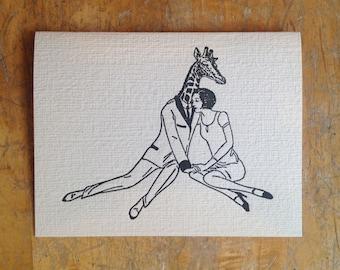 giraffe boyfriend letterpress card engagement love wedding anniversary