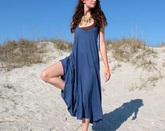 Organic Dress - Racer Back Tank Wanderer Below Knee Dress (organic tissue cotton knit)  - organic dress