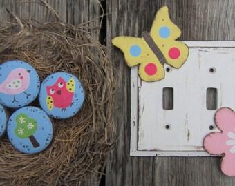 """Kids Wood Knobs DAISY GARDEN NATURE - Original Hand Painted Design - 2"""" Furniture/Closet Door/vanity"""