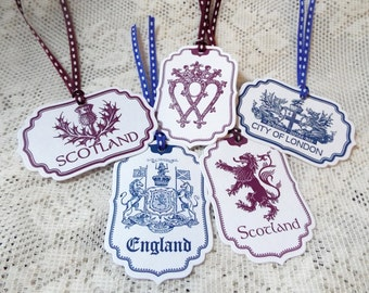 England and Scotland Tag Assortment Pack, London, Luckenbooth, Rampant Lion, Crests, Heraldry for party favors, Set of 5, Navy Blue, Purple