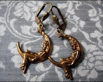 Luna Earrings - Art Nouveau Ladies Draped Upon a Crescent Moon