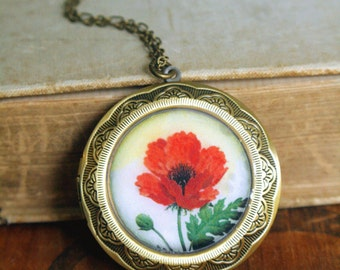 Red Poppy Locket Necklace, Flower Locket Necklace, Long Locket Necklace, Large Locket, Long Chain, Photo gift, Vintage Style Locket