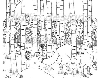 Adult Coloring Page - Foxes in the Forest - Fox - Woodland - Wall Art - Fantasy Art - Folk Art - Printable - Coloring Page - DIY Wall Decor