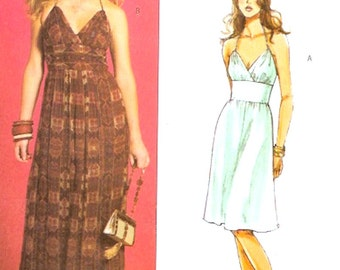 Bridesmaid dress pattern Spring Summer halter Style Fashion muse sewing pattern Butterick 4977 Bust 36 to 42 UNCUT