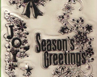 Xmas Clear Stamps Transparent Inkadinkadoo 98395 6 clear stamps Set for Scrapbooking Collage Winter Shapes and Sayings