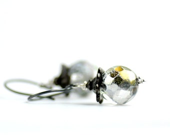 Clear Glass Earrings, Romantic Earrings, Beach Wedding, Sparkly Earrings, Metallic Earrings, Gold Sparkle, Vintage Inspired Jewelry