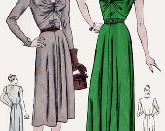 1940s Draped Dress Evening or Short Lengths Draped Bodice w/ Deep Cut-out Neckline Vogue 5807 Vintage 40s Sewing Pattern Size 20 Bust 38