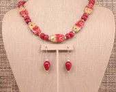 Chiquita - OOAK Dark Red Faceted Jade, Colorful Lamp work and Bali Silver Necklace with Earrings.