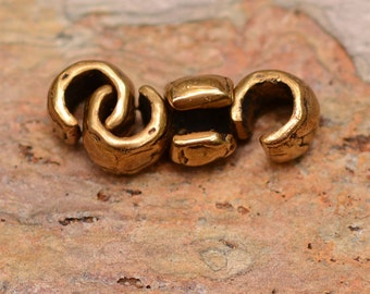 Four Gold Bronze Crimp Cover Beads, FN-3