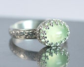 Prehnite Sterling Silver Ring, Floral Band with Crown Setting, US Size 8, Ready to Ship