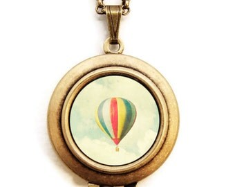 Retro Balloon - Photo Locket - Hot Air Balloon Magical Ride Locket Necklace