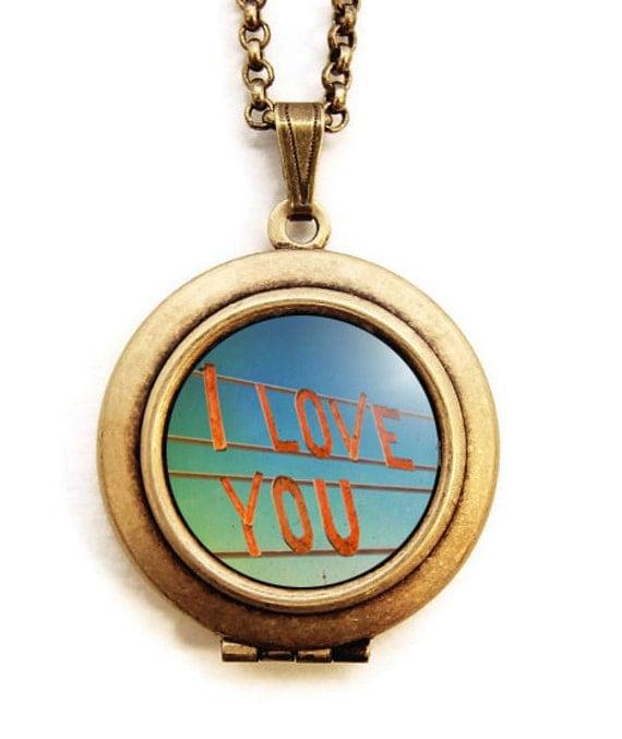 I Love You - Photo Locket Necklace - Anniversary Wedding Romance Jewelry