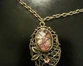 1940s Japanese Man-made Pink Opal and Bronze Bird's Nest Necklace