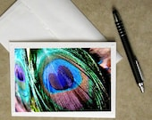 peacock greeting card, peacock stationary, peacock feather card, bird card, feather notecard, feather card, greeting card, photo card