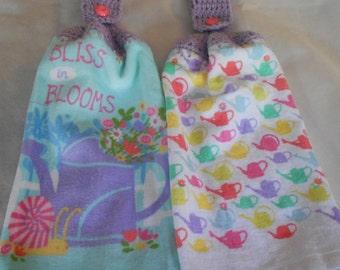 Crocheted Top Garden Watering Can Kitchen Towel Set Watering Can Granny Kitchen Towels  Garden Hand Towel Set
