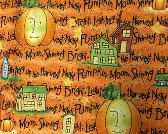 Halloween Daisy Kingdom Fall Pumpkin Fabric - 1 yard 30 inches - orange