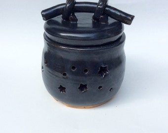 MIDNIGHT blue lidded luminary - ceramic - pottery -  handmade -  lantern - indoor - outdoor - ready to ship - gift