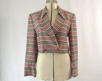 Cropped Jacket Checkered Wool Gabardine Jacket 1980s Medium Large