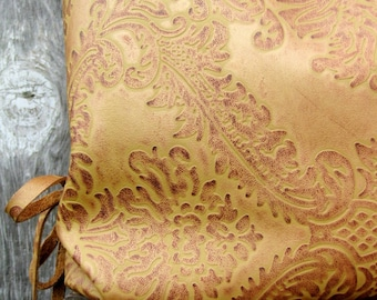Damask Leather Bag in Royal Cognac Palm Slouchy Hobo by Stacy Leigh Ready to Ship