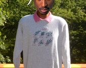 vintage 80s sweatshirt HERBS garden crew neck built in collar Medium Large heathered gray wtf 420